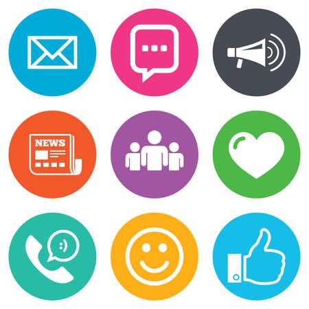 메일, 뉴스 아이콘입니다. 회의, 같은 및 그룹 표지판. 전자 메일, 채팅 메시지 및 전화 호출 기호. 평면 원 버튼입니다. 벡터