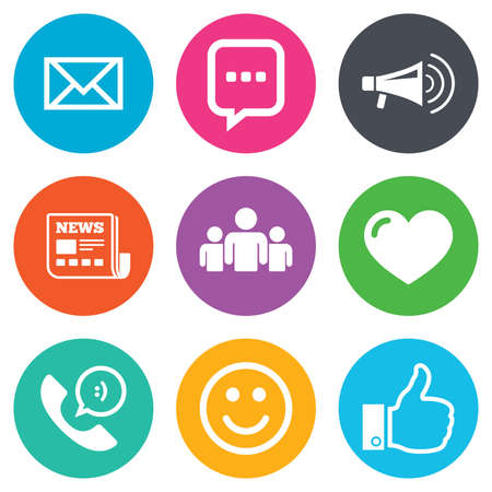 Mail, news icons. Conference, like and group signs. E-mail, chat message and phone call symbols. Flat circle buttons. Vector