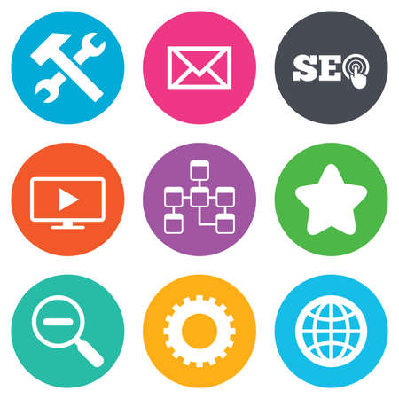 seo: Internet, seo icons. Repair, database and star signs. Mail, settings and monitoring symbols. Flat circle buttons. Vector Illustration