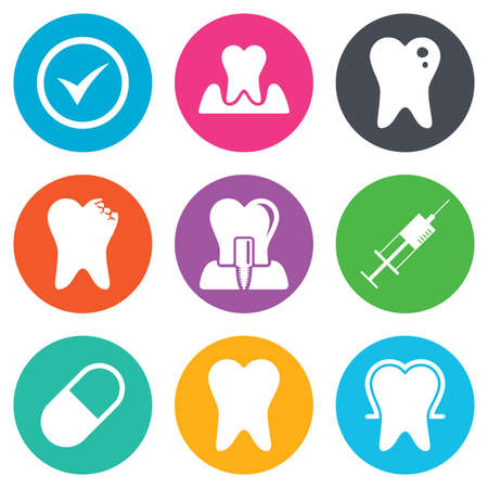 stomatologist: Tooth, dental care icons. Stomatology, syringe and implant signs. Healthy teeth, caries and pills symbols. Flat circle buttons. Vector