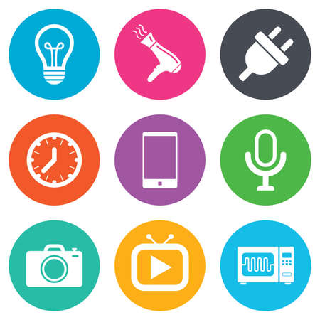 Home appliances, device icons. Electronics signs. Lamp, electrical plug and photo camera symbols. Flat circle buttons. Vector