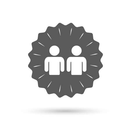 two friends talking: Vintage emblem medal. Friends sign icon. Social media symbol. Classic flat icon. Vector