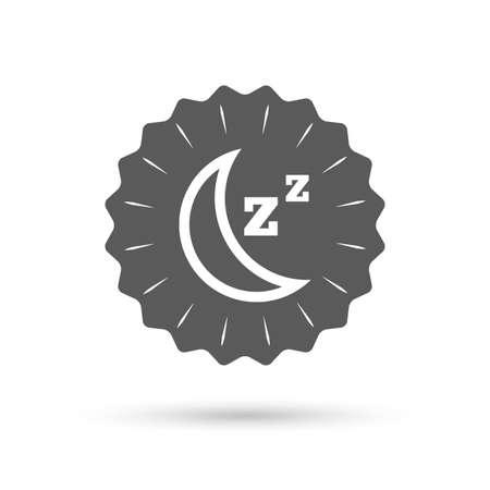 standby: Vintage emblem medal. Sleep sign icon. Moon with zzz button. Standby. Classic flat icon. Vector