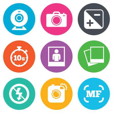 web camera: Photo, video icons. Web camera, photos and frame signs. No flash, timer and portrait symbols. Flat circle buttons. Vector