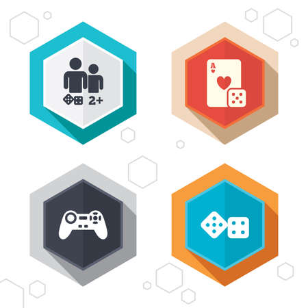 gamer: Hexagon buttons. Gamer icons. Board games players signs. Video game joystick symbol. Casino playing card. Labels with shadow. Vector