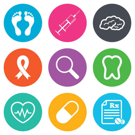 cancer foot: Medicine, medical health and diagnosis icons. Syringe injection, heartbeat and pills signs. Tooth, neurology symbols. Flat circle buttons. Vector