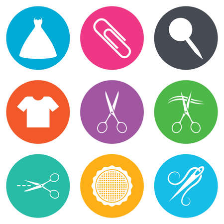 canva: Tailor, sewing and embroidery icons. Scissors, safety pin and needle signs. Shirt and dress symbols. Flat circle buttons. Vector Illustration