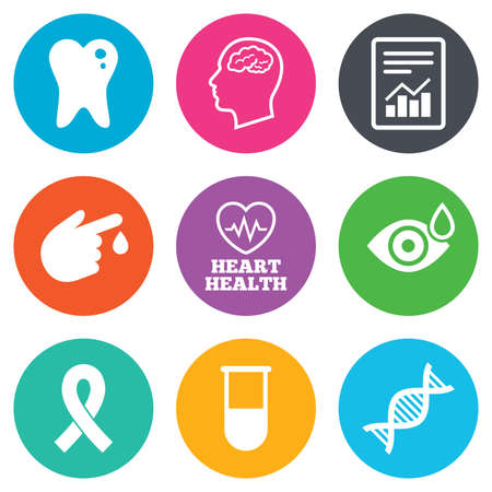 neurology: Medicine, medical health and diagnosis icons. Blood test, dna and neurology signs. Tooth, report symbols. Flat circle buttons. Vector