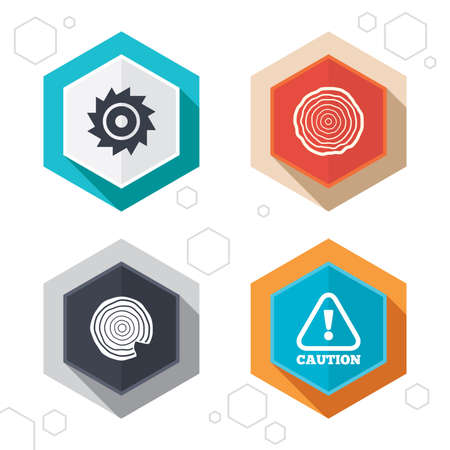 warning saw: Hexagon buttons. Wood and saw circular wheel icons. Attention caution symbol. Sawmill or woodworking factory signs. Labels with shadow. Vector Illustration