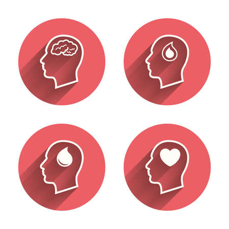icon buttons: Head with brain icon. Male human think symbols. Blood drop donation sign. Love heart. Pink circles flat buttons with shadow. Vector