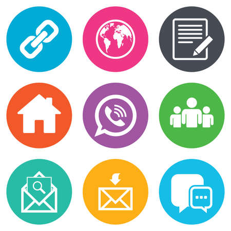 contact icon: Communication icons. Contact, mail signs. E-mail, call phone and group symbols. Flat circle buttons. Vector