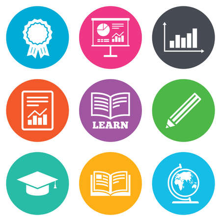 study icon: Education and study icon. Presentation signs. Report, analysis and award medal symbols. Flat circle buttons. Vector Illustration