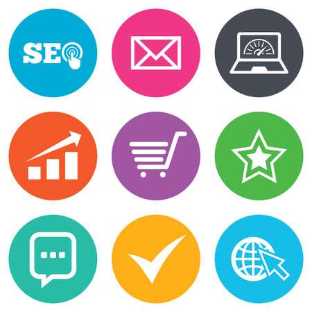 garrapata: Internet, los iconos de SEO. Tick, muestras comerciales y de tabla en línea. De ancho de banda, dispositivos móviles y chat símbolos. botones planos círculo. Vector Vectores
