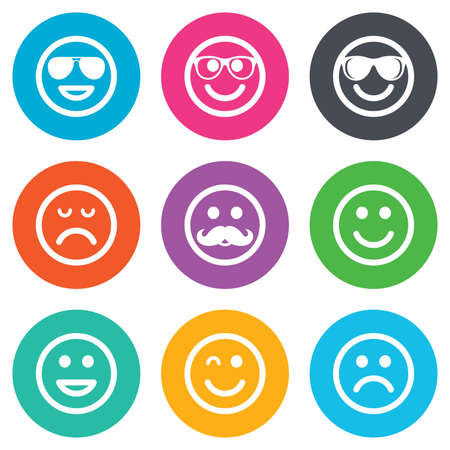 sorrowful: Smile icons. Happy, sad and wink faces signs. Sunglasses, mustache and laughing lol smiley symbols. Flat circle buttons. Vector