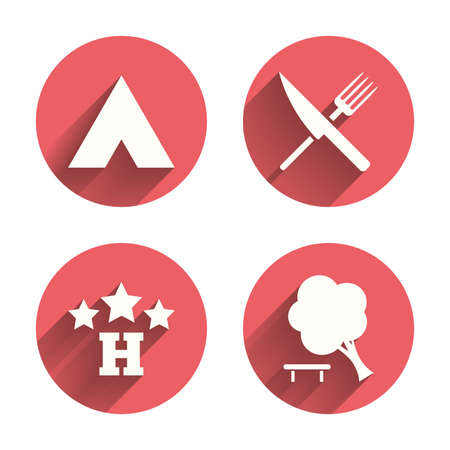 fork road: Food, hotel, camping tent and tree icons. Knife and fork. Break down tree. Road signs. Pink circles flat buttons with shadow. Vector