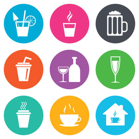 take away: Tea, coffee and beer icons. Beer, wine and cocktail signs. Take away drinks. Flat circle buttons. Vector Illustration