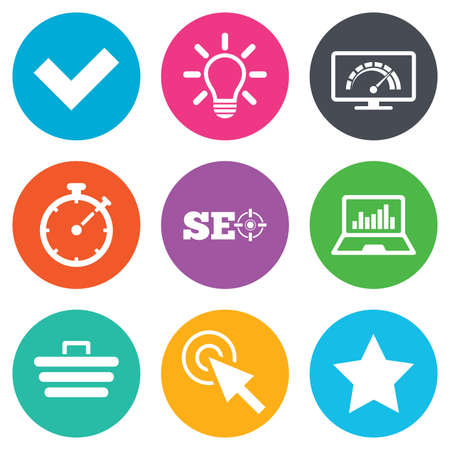 bandwidth: Internet, seo icons. Bandwidth speed, online shopping and tick signs. Favorite star, notebook chart symbols. Flat circle buttons. Vector