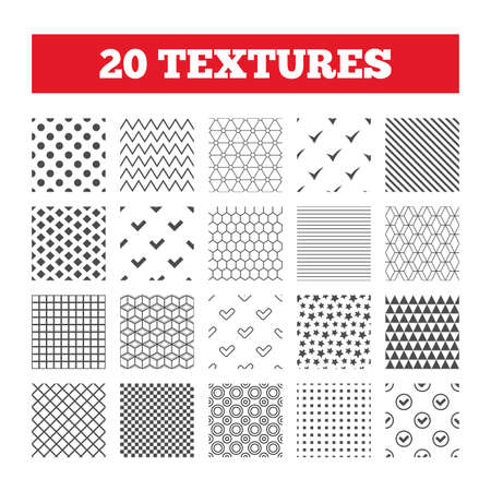 checkbox: Seamless patterns. Endless textures. Check icons. Checkbox confirm circle sign symbols. Geometric tiles, rhombus. Vector