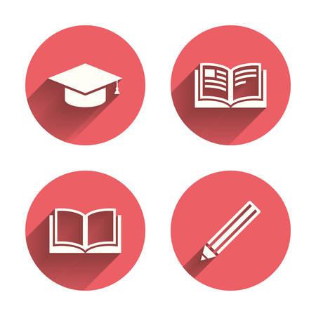 caps: Lápiz y los iconos de libro abierto. Símbolo Casquillo de la graduación. La educación superior aprender signos. Círculos rosados ??botones planos con sombra. Vector