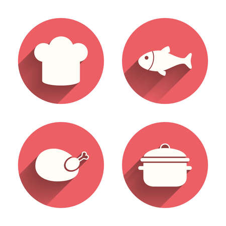 stew: Chief hat and cooking pan icons. Fish and chicken signs. Boil or stew food symbol. Pink circles flat buttons with shadow. Vector