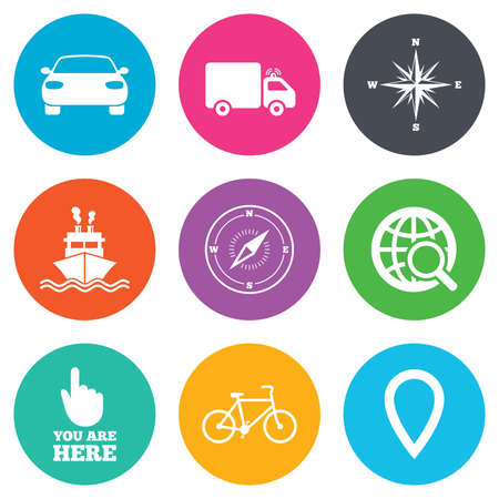 orange rose: Navigation, gps icons. Windrose, compass and map pointer signs. Bicycle, ship and car symbols. Flat circle buttons. Vector Illustration