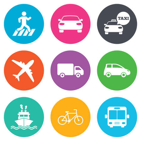 transport icon: Transport icons. Car, bike, bus and taxi signs. Shipping delivery, pedestrian crossing symbols. Flat circle buttons. Vector