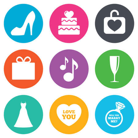 champagne orange: Wedding, engagement icons. Cake with heart, gift box and brilliant signs. Dress, shoes and musical notes symbols. Flat circle buttons. Vector Illustration