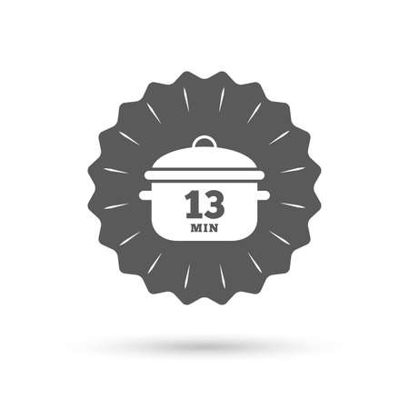 stew pan: Vintage emblem medal. Boil 13 minutes. Cooking pan sign icon. Stew food symbol. Classic flat icon. Vector