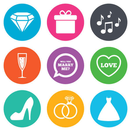 Wedding, engagement icons. Rings, gift box and brilliant signs. Dress, shoes and musical notes symbols. Flat circle buttons. Vector