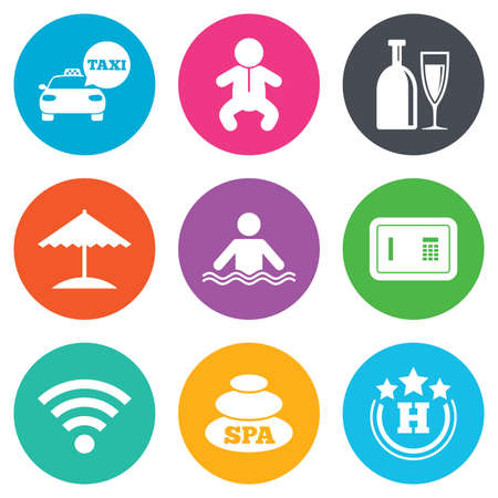 hotel pool: Hotel, apartment service icons. Spa, swimming pool signs. Alcohol drinks, wifi internet and safe symbols. Flat circle buttons. Vector Illustration