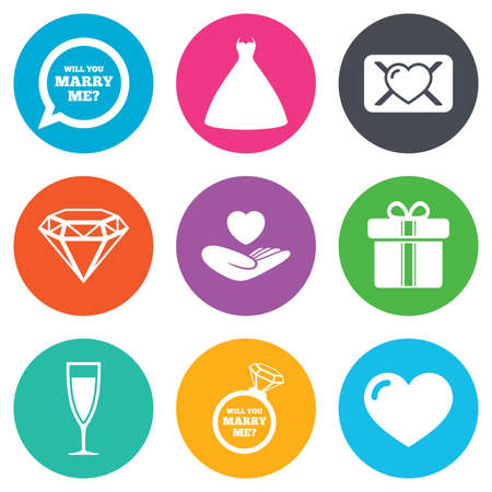 brilliant heart: Wedding, engagement icons. Love oath letter, gift box and brilliant signs. Dress, heart and champagne glass symbols. Flat circle buttons. Vector