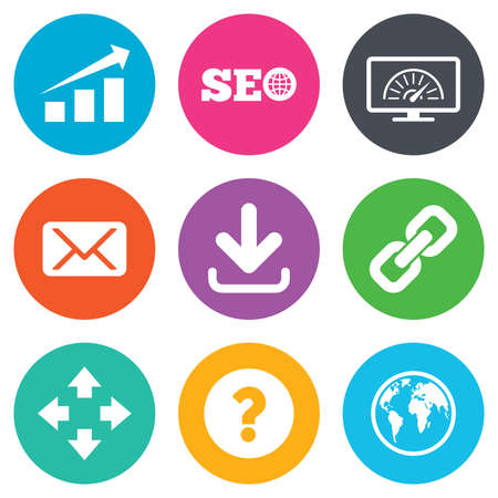 bandwidth: Internet, seo icons. Bandwidth speed, download arrow and mail signs. Hyperlink, monitoring symbols. Flat circle buttons. Vector Illustration