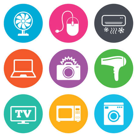 ventilator: Home appliances, device icons. Electronics signs. Air conditioning, washing machine and ventilator symbols. Flat circle buttons. Vector Illustration
