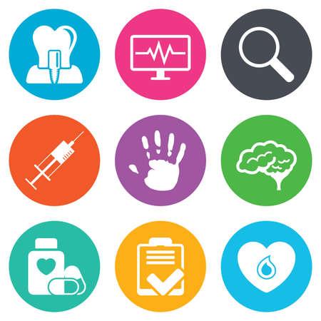 医学、医療健康診断アイコン。血液、注射器注入と神経に署名します。歯のインプラント、拡大鏡の記号。フラット サークル ボタン。ベクトル
