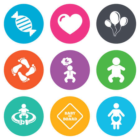 seat belt: Pregnancy, maternity and baby care icons. Candy, strollers and fasten seat belt signs. Footprint, love and balloon symbols. Flat circle buttons. Vector