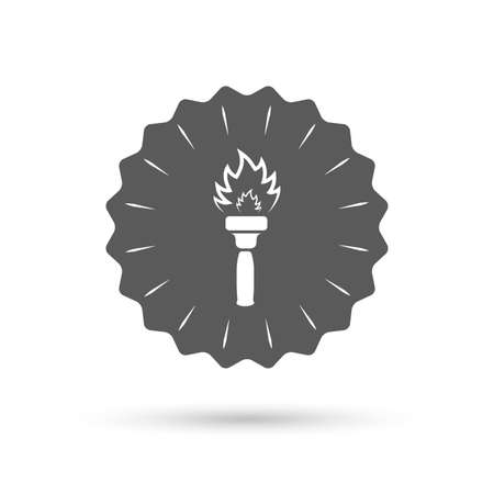 torch flame: Vintage emblem medal. Torch flame sign icon. Fire flaming symbol. Classic flat icon. Vector