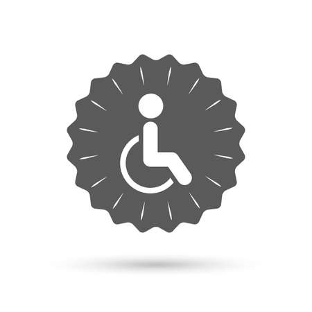invalid: Vintage emblem medal. Disabled sign icon. Human on wheelchair symbol. Handicapped invalid sign. Classic flat icon. Vector