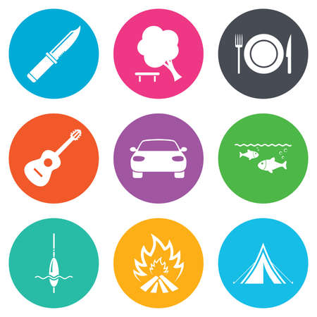 hike: Hike trip, camping icons. Fishing, campfire and tourist tent signs. Guitar music, knife and food symbols. Flat circle buttons. Vector