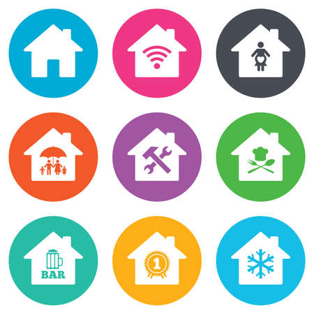 air hammer: Real estate icons. Home insurance, maternity hospital and wifi internet signs. Restaurant, service and air conditioning symbols. Flat circle buttons. Vector