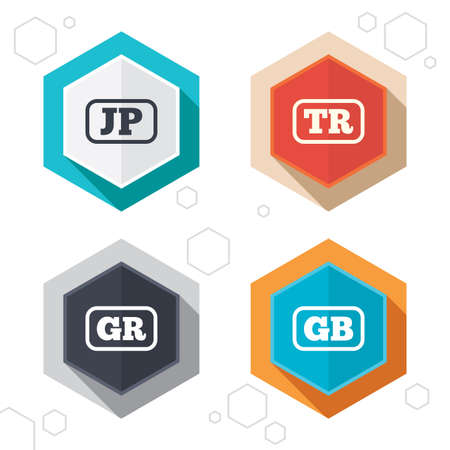 tr: Hexagon buttons. Language icons. JP, TR, GR and GB translation symbols. Japan, Turkey, Greece and England languages. Labels with shadow. Vector Illustration
