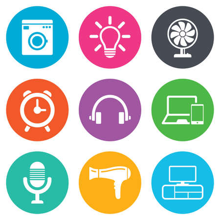 Home appliances, device icons. Ventilator sign. Hairdryer, washing machine and lamp symbols. Flat circle buttons. Vector