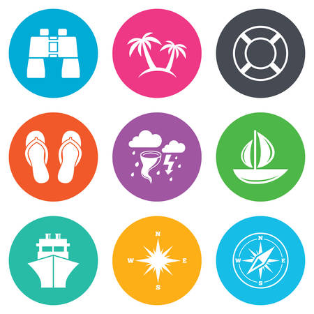 rose tree: Cruise trip, ship and yacht icons. Travel, lifebuoy and palm trees signs. Binoculars, windrose and storm symbols. Flat circle buttons. Vector Illustration
