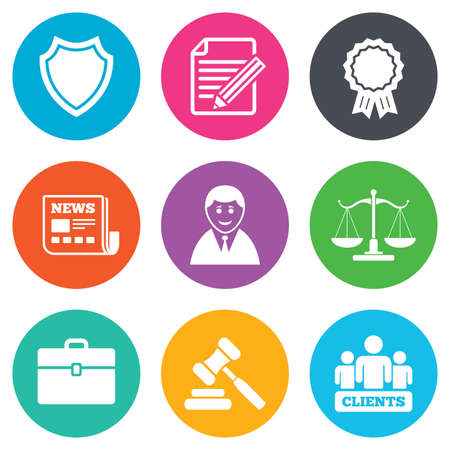 auction: Lawyer, scales of justice icons. Clients, auction hammer and law judge symbols. Newspaper, award and agreement document signs. Flat circle buttons. Vector Illustration