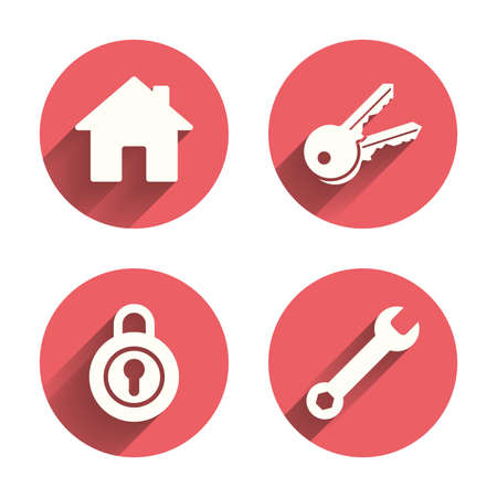 main: Home key icon. Wrench service tool symbol. Locker sign. Main page web navigation. Pink circles flat buttons with shadow. Vector