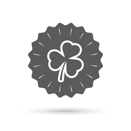 trefoil: Vintage emblem medal. Clover with three leaves sign icon. Trifoliate clover. Saint Patrick trefoil symbol. Classic flat icon. Vector