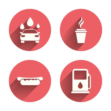 hotdog: Petrol or Gas station services icons. Automated car wash signs. Hotdog sandwich and hot coffee cup symbols. Pink circles flat buttons with shadow. Vector Illustration