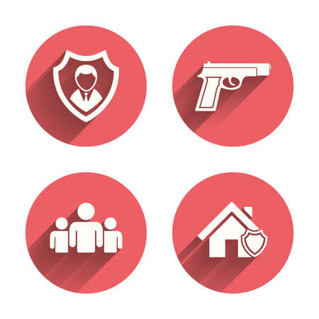 home group: Security agency icons. Home shield protection symbols. Gun weapon sign. Group of people or Share. Pink circles flat buttons with shadow. Vector