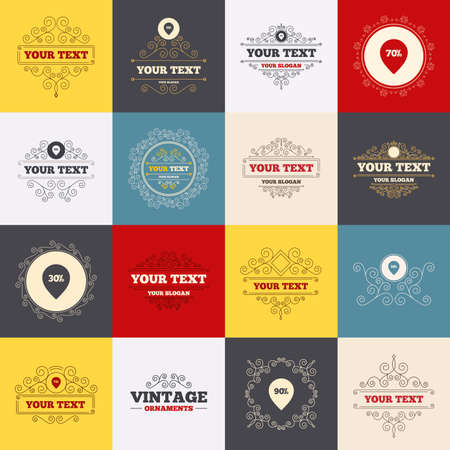 reductions: Vintage frames, labels. Sale pointer tag icons. Discount special offer symbols. 30%, 50%, 70% and 90% percent discount signs. Scroll elements. Vector