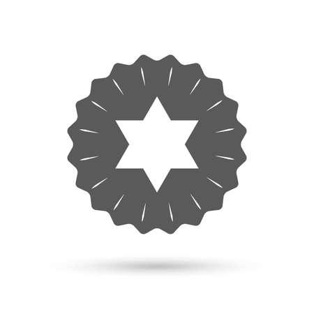 hexagram: Vintage emblem medal. Star of David sign icon. Symbol of Israel. Jewish hexagram symbol. Shield of David. Classic flat icon. Vector Illustration