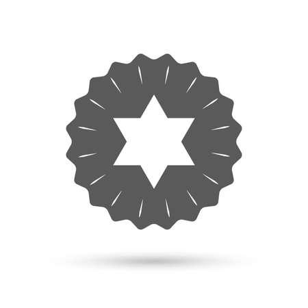 hexagram: Vintage emblem medal. Star of David sign icon. Symbol of Israel. Jewish hexagram symbol. Shield of David. Classic flat icon. Vector Illustration